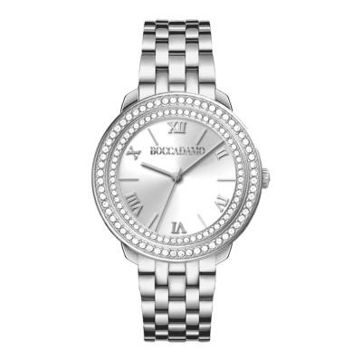 Women's silver only time watch with double Swarovski bezel