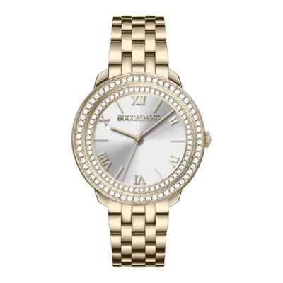 Gold women's time only watch with silver dial and double Swarovski bezel
