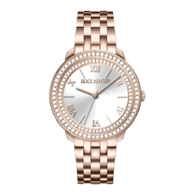 Pink woman time only watch with silver dial and double Swarovski bezel