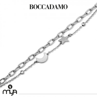 Double strand bracelet with crescent and star