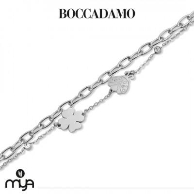 Double strand bracelet with ladybug and four-leaf clover