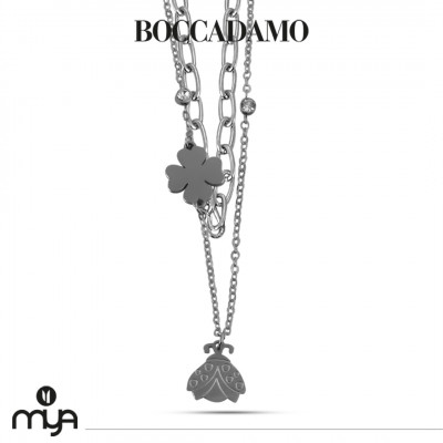 Double strand necklace with ladybug and four-leaf clover
