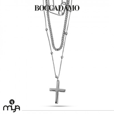 Multi-strand necklace with crucifix