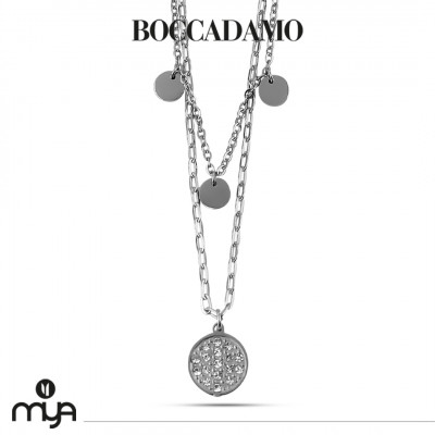 Necklace with circular pendant and rhinestones