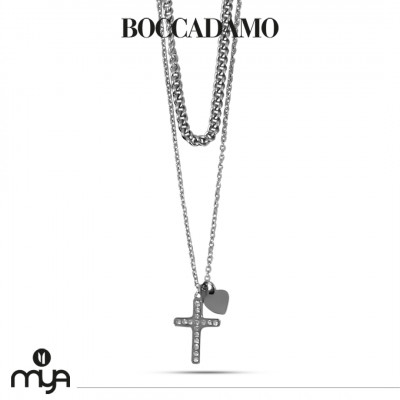 Necklace with crucifix and rhinestones