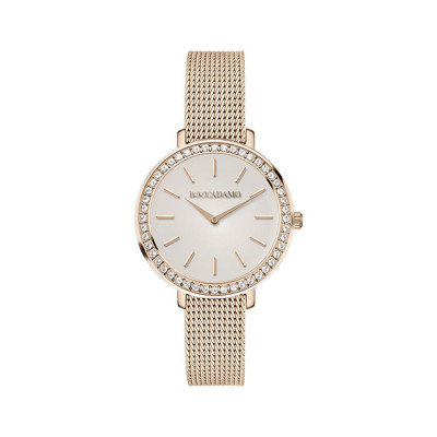 Wrist Watch pink woman with circular dial and Swarovski