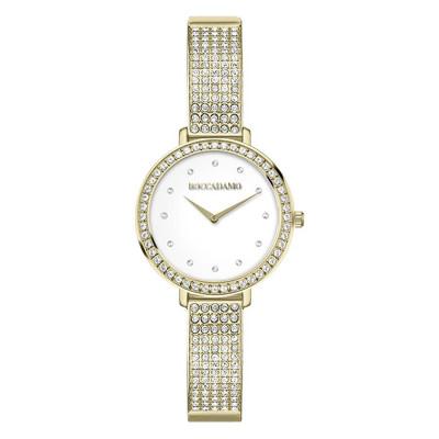 Wristwatch woman with golden strap and Swarovski