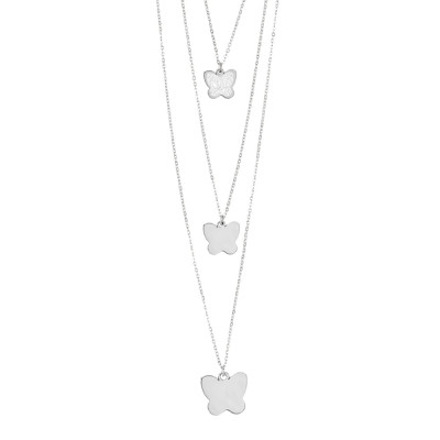 Three-wire necklace with hanging butterflies