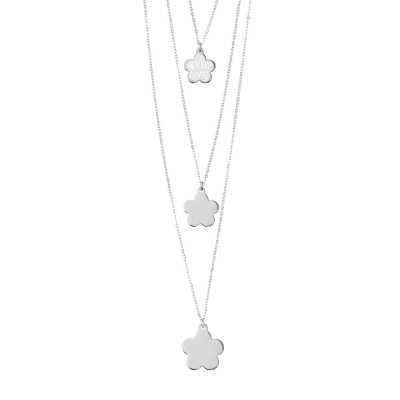 Three strand necklace with hanging flowers