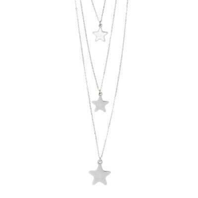 Three-wire necklace with hanging stars