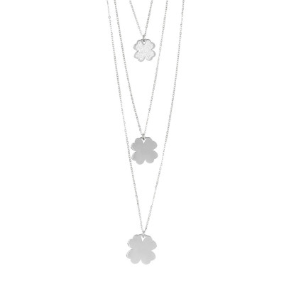 Three-wire necklace with hanging clovers