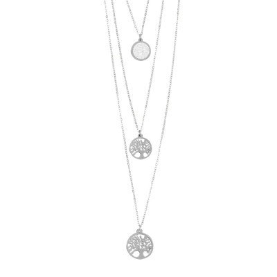 Three-wire necklace with hanging tree of life