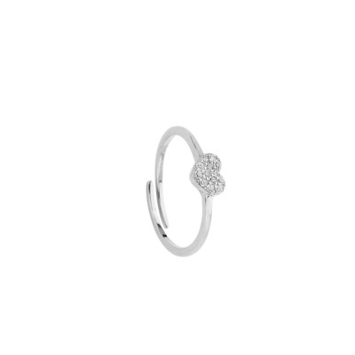 Ring with heart of white cubic zirconia