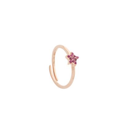 Ring with fuchsia zircon star