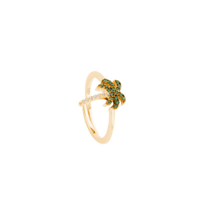 Yellow gold plated ring with cubic zirconia palm