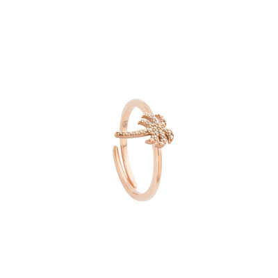 Rose gold plated ring with cubic zirconia palm