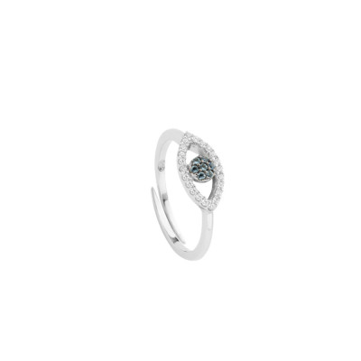 Ring with eye of Horus in cubic zirconia