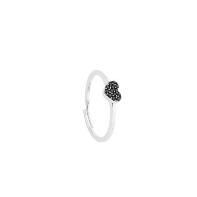 Ring with heart of white cubic zirconia on a black base