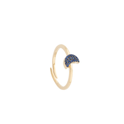 Yellow gold plated ring with cubic zirconia crescent