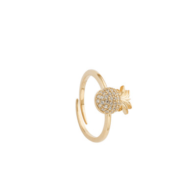 Yellow gold plated ring with cubic zirconia pineapple