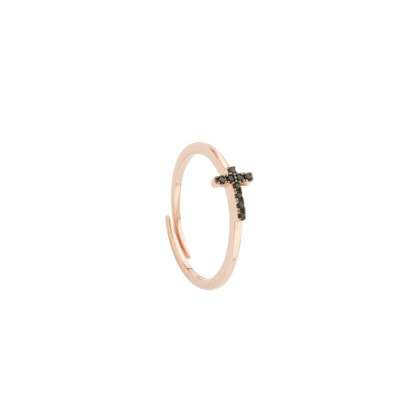 Rose gold plated ring with black zircon cross