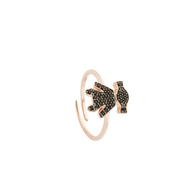 Rose gold plated ring with cubic zirconia girl