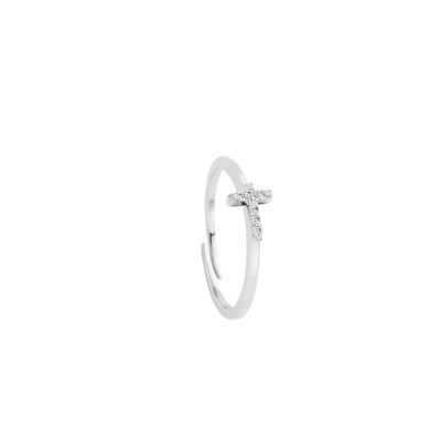 Ring with cross of white cubic zirconia