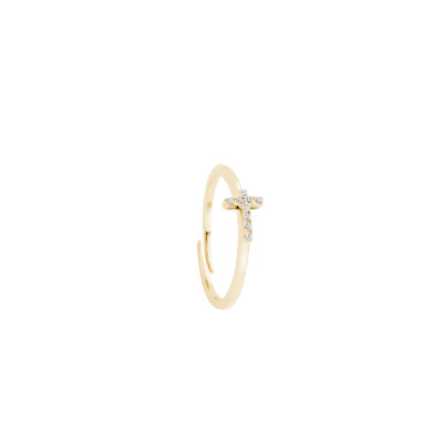 Yellow gold plated ring with zircon cross