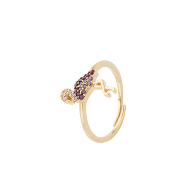 Yellow gold plated ring with multicolor zircon flamingo