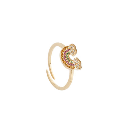 Yellow gold plated ring with rainbow of multicolor zircons