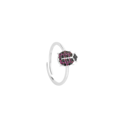 Ring with cubic zirconia ladybug