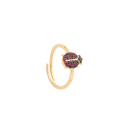 Yellow gold plated ring with cubic zirconia ladybird