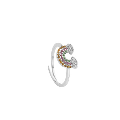Ring with rainbow of multicolor zircons