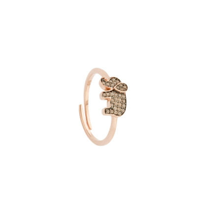 Rose gold plated ring with cubic zirconia elephant