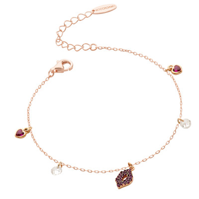 Rose gold-plated bracelet with fuchsia zircon mouth