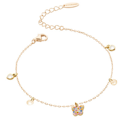 Yellow gold plated bracelet with multicolor zircon butterfly