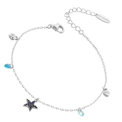 Bracelet with blue cubic zirconia star