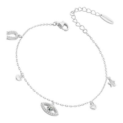 Bracelet with eye of Horus and zircon horseshoe