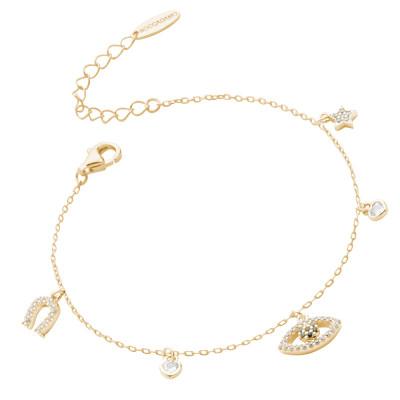 Yellow gold plated bracelet with Horus eye and zircon horseshoe