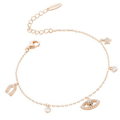 Rose gold plated bracelet with eye of Horus and zircon horseshoe