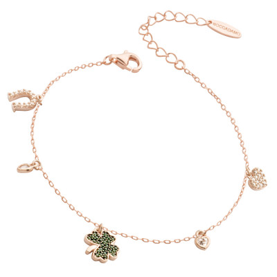 Rose gold plated bracelet with cubic zirconia clover