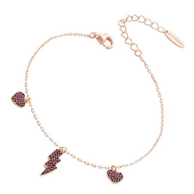 Bracelet with lightning and hearts of fuchsia cubic zirconia