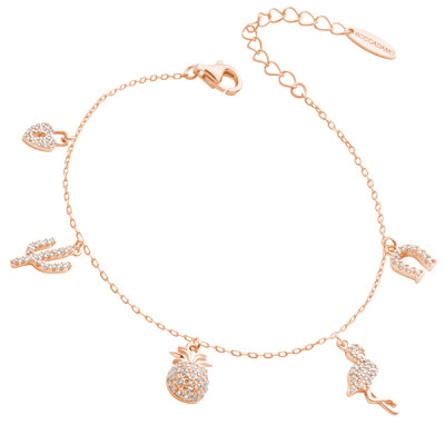 Rose gold plated bracelet with zircon pendants with exotic inspirations