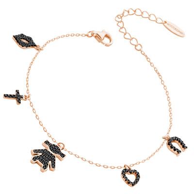 Rose gold plated bracelet with black zircon pendants