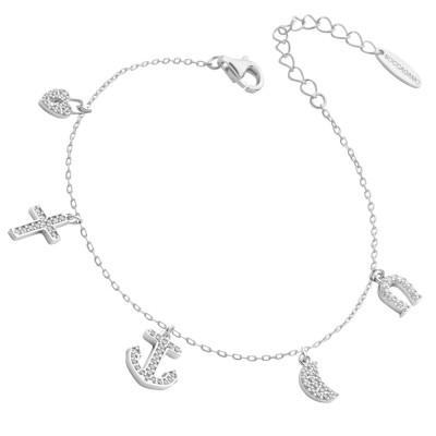 Bracelet with white zirconia pendants