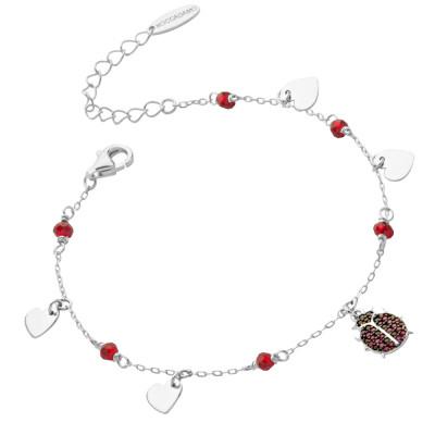 Bracelet with cubic zirconia ladybug