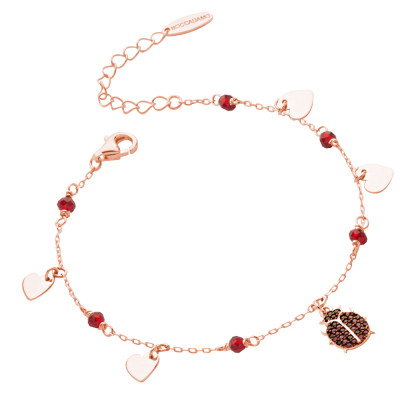 Rose gold plated bracelet with cubic zirconia ladybird