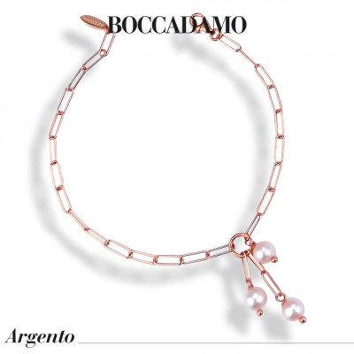 Rose gold plated bracelet with natural pearl tuft
