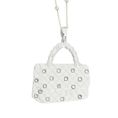 Necklace with rhodium plated handbag pendant and Swarovski