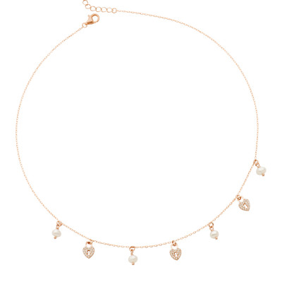 Rose gold plated necklace with cubic zirconia hearts and freshwater pearls